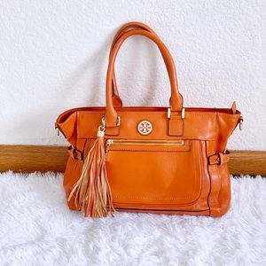 Tory Burch Orange Pebbled Leather Tote